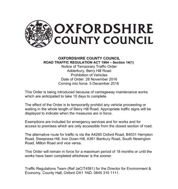 Notice of Oxfordshire County Council Road Traffic Regulation Act 1984 - Section 14(1)