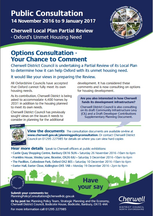 Public Consultation on Oxford's unmet housing need - November 2016 to January 2017