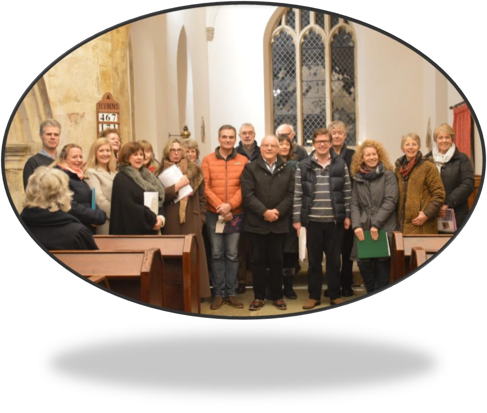 Photograph of Banbury Occasional Singers, standing together in a church