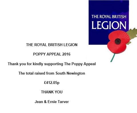 A note of thank you for supporting The Poppy Appeal