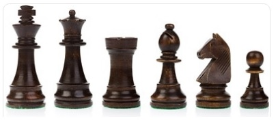 Brown chess pieces on a white background