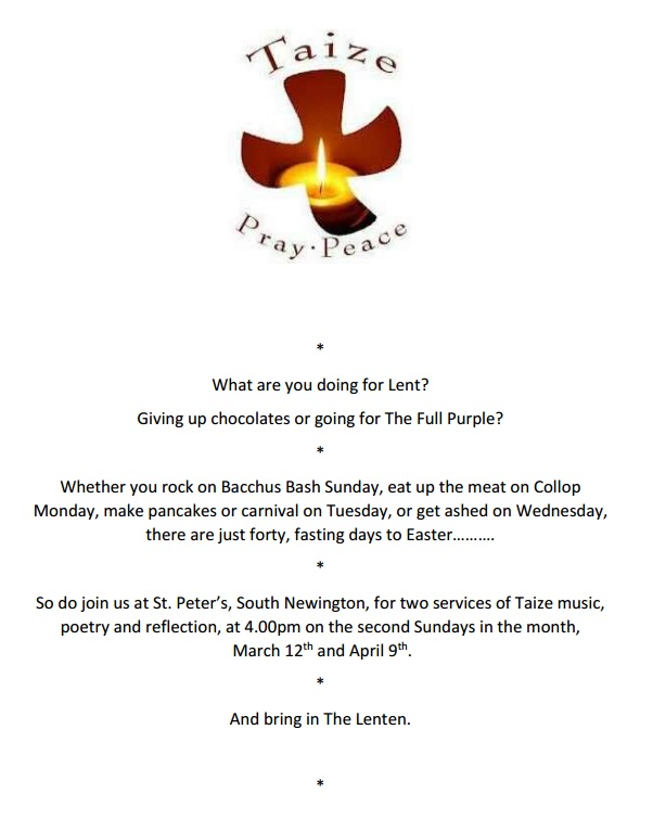 Poster for Taize prayer service March 2017