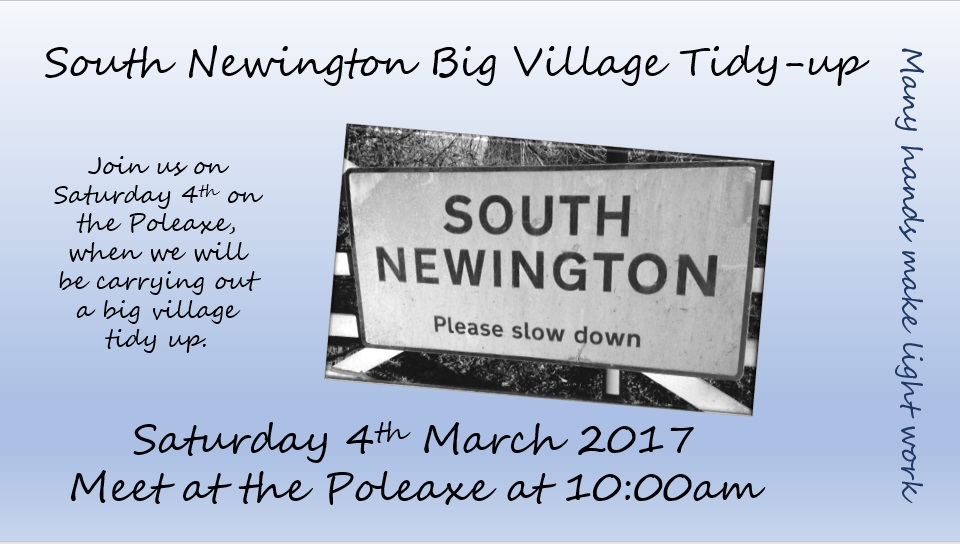 Poster for South Newington Village tidy-up March 2017