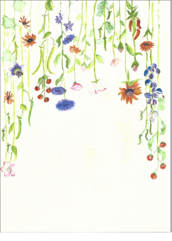 Painting of flowers coming down from top of white background