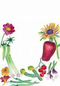 Painting of various flowers and vegetables on a white background