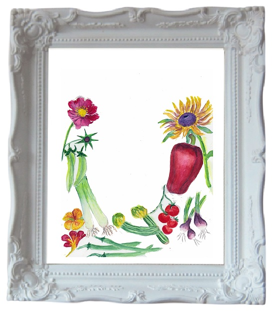 Painting of various flowers and vegetables on a white background, in a white frame