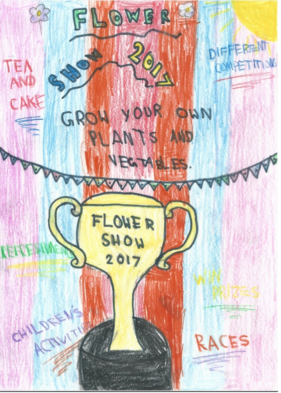Child's drawing of poster for Flower Show 2017. A gold trophy reads Flower Show 2017.