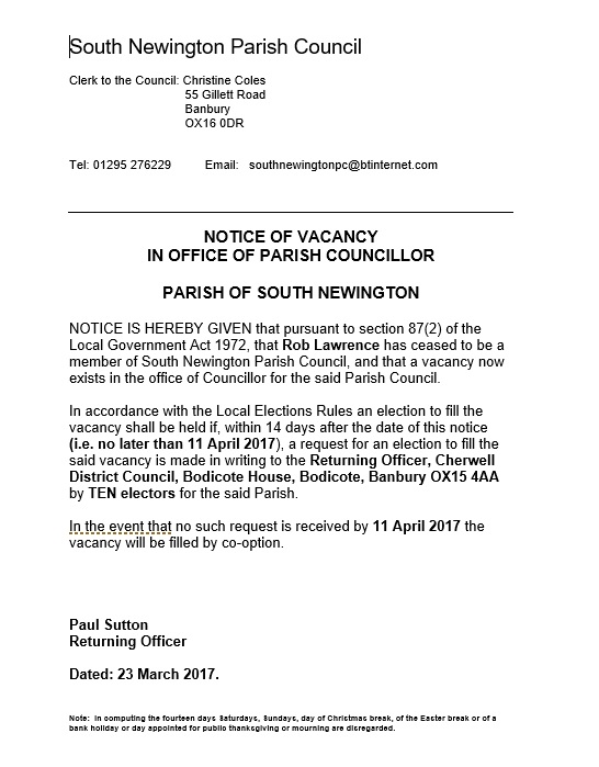 Notice of parish councillor vacancy, March 2017