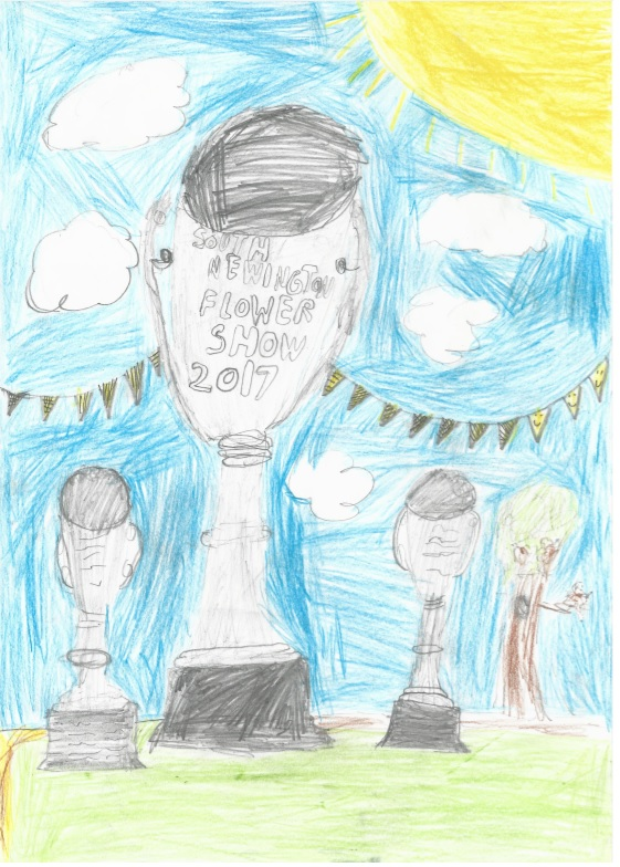 Child's drawing of trophies, one reading South Newington Flower Show 2017