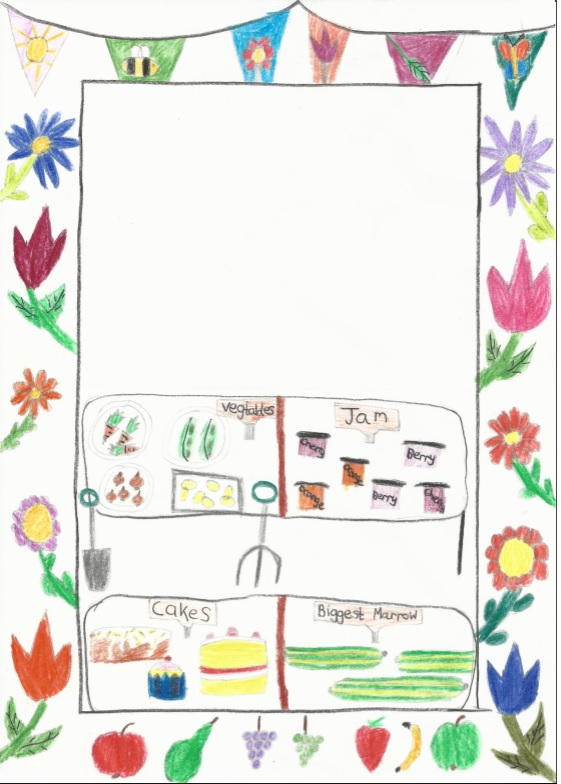 Child's drawing of vegetables, jam, cakes and marrows on separate tables