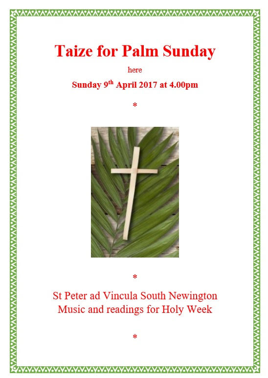 Poster for Palm Sunday April 2017