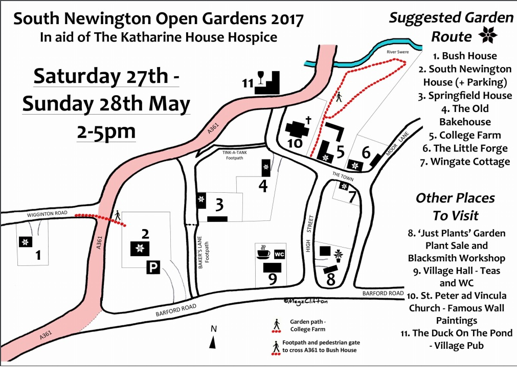 Map for South Newington Open Gardens, May 2017