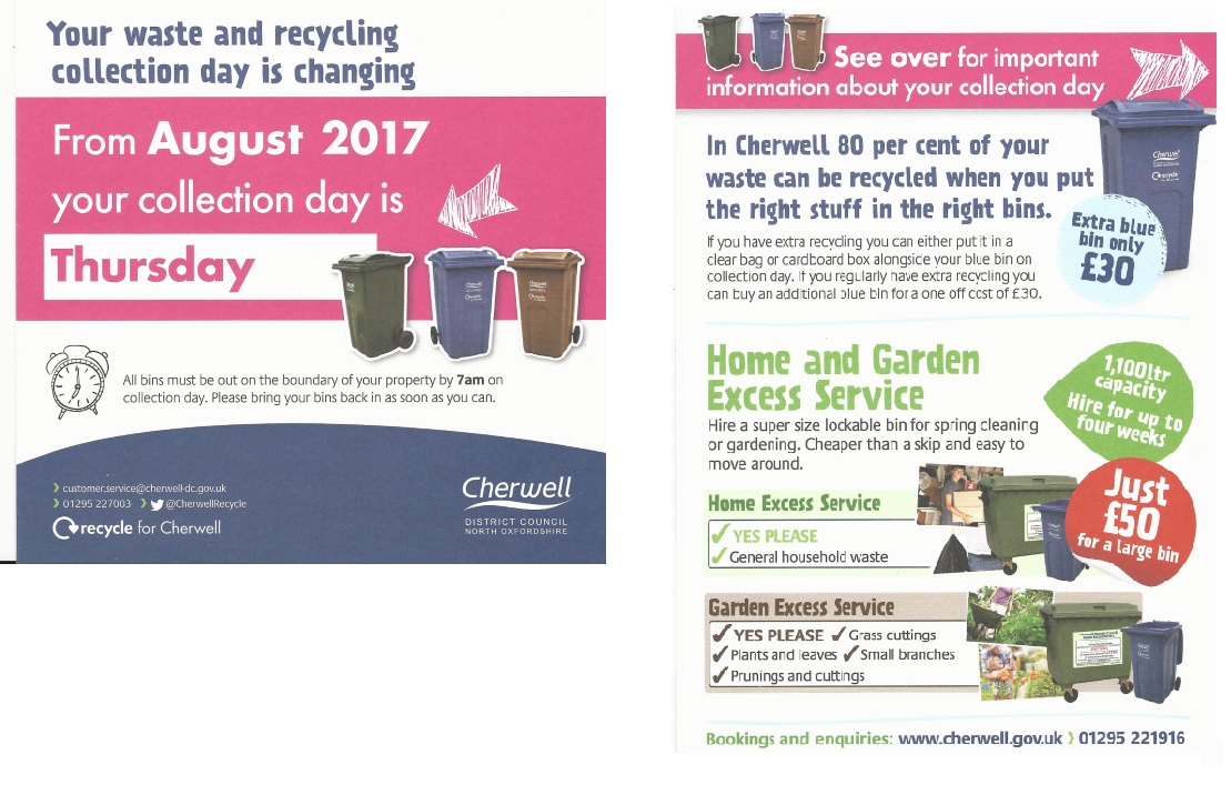 Information on bin collections from August 2017