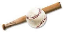 A rounders bat and baseball.