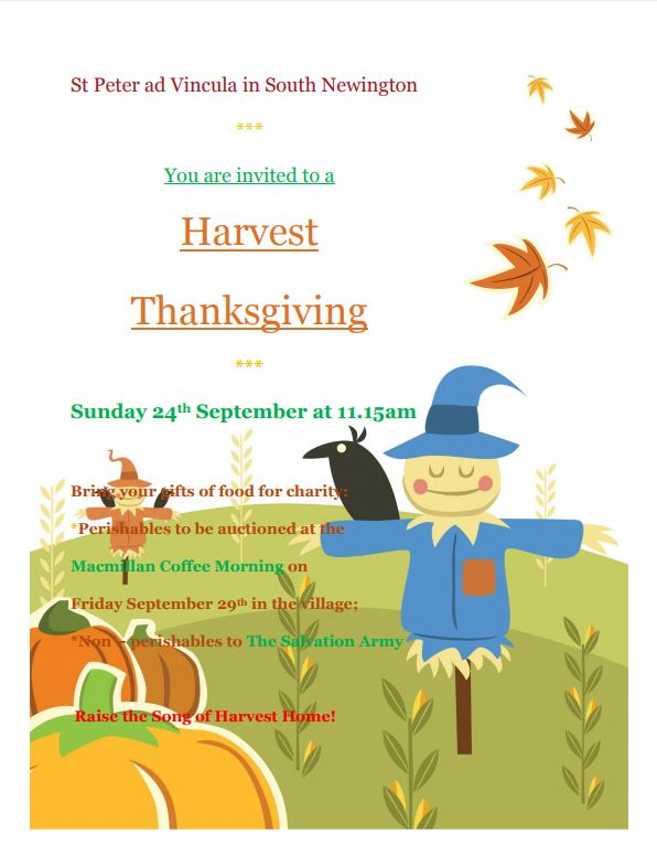 Poster for Harvest thanksgiving, September 2017