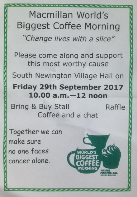 Poster for Macmillan coffee morning, September 2017