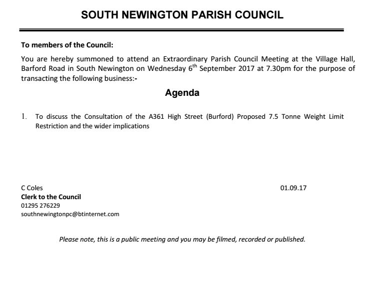 Agenda for South Newington parish council meeting, September 2017