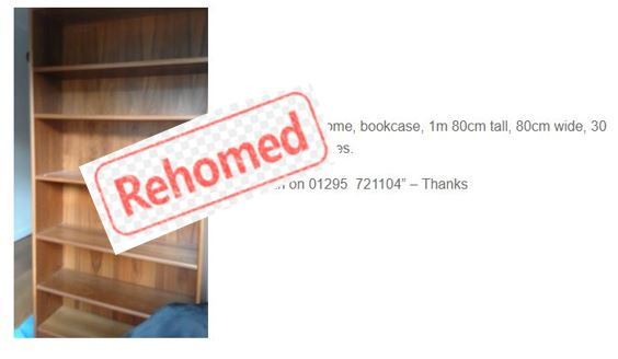 Advert for bookcase; labelled Rehomed