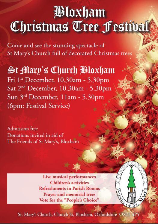 Poster for Bloxham Christmas tree festival, December 2017