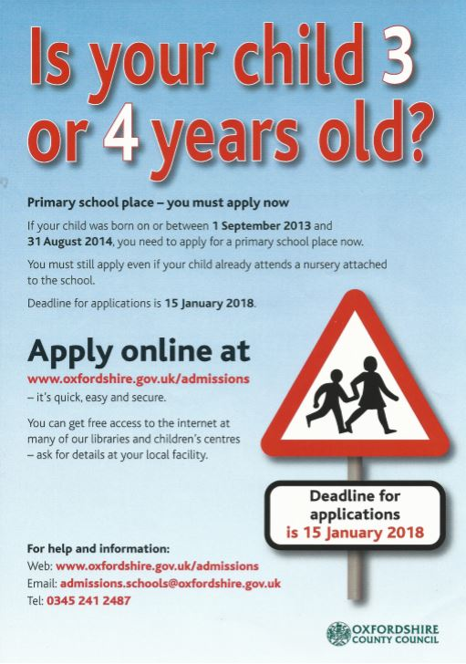 Poster for primary school applications, 2017