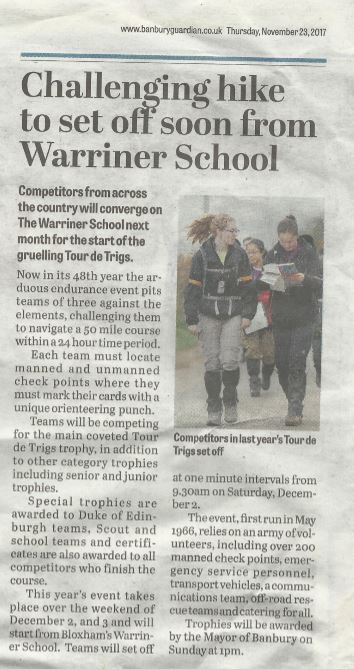 A newspaper clipping from Banbury Guardian. Headline reads: Challenging hike to set off soon from Warriner School