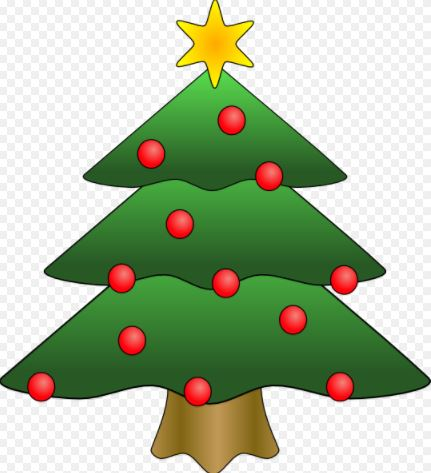 Cartoon of green christmas tree with red baubles and a gold star on top