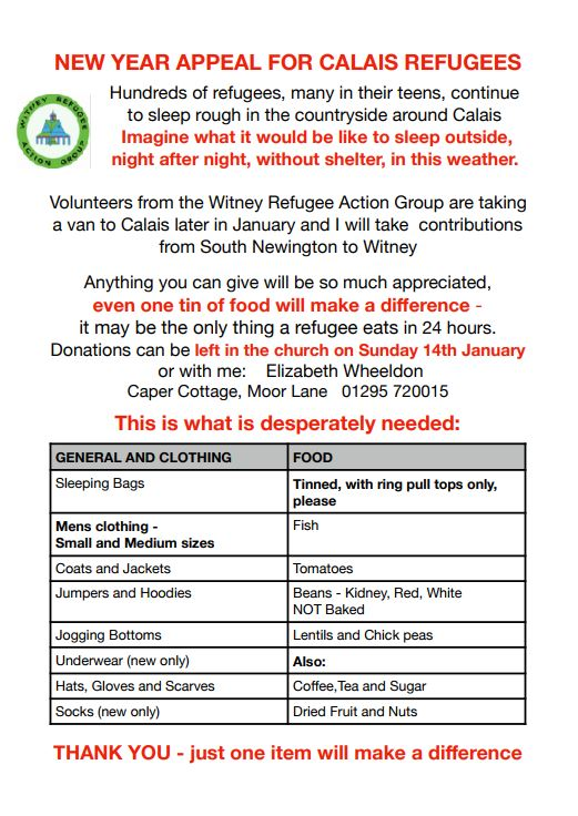 Poster for Calais refugee appeal, January 2018