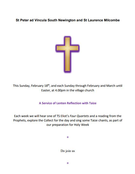 Poster for church service in February 2018