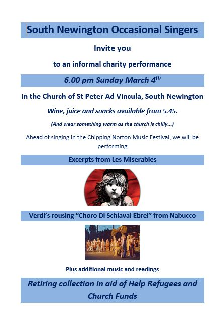 Poster for South Newington Occasional Singers event, March 2018