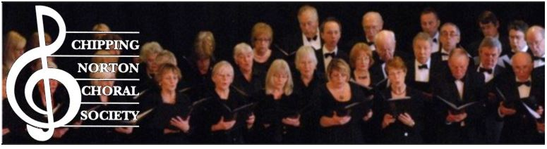 Banner for Chipping Norton Choral Society, showing a choir of singers.
