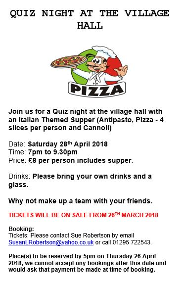 Poster for Quiz Night, March 2018