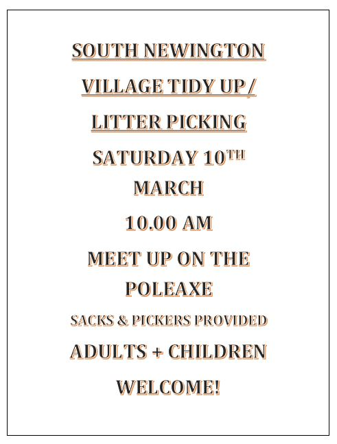 Poster for Village Tidy-up, March 2018