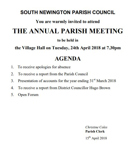 Agenda for Parish Council meeting April 2018