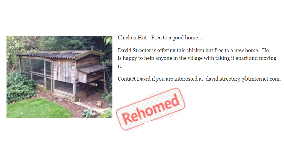 Chicken Hut: Free to good home. Offered by David Streeter. Contact david.streeter3@bitinternet.com