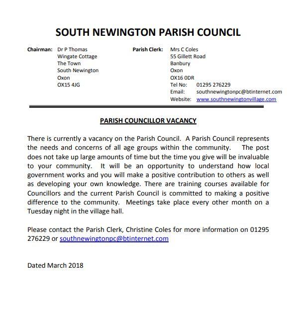 Notice for Parish Councillor vacancy, April 2018