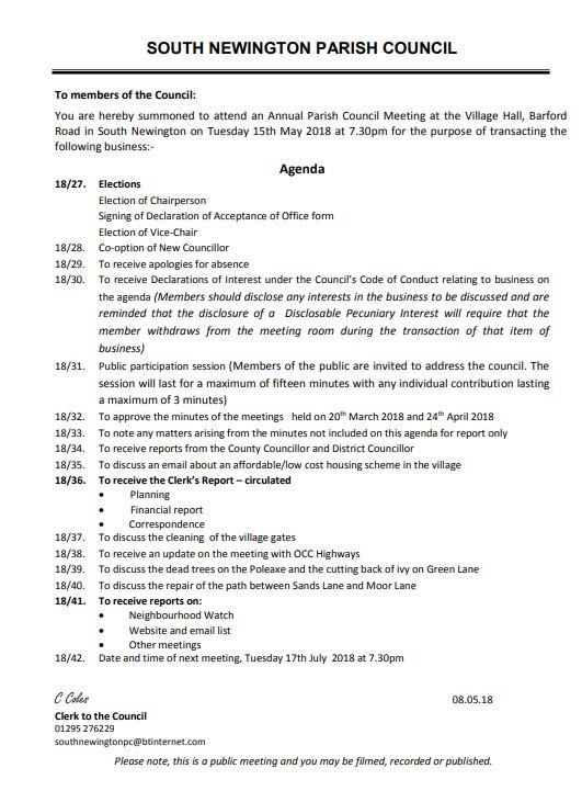 Agenda for Parish council meeting May 2018