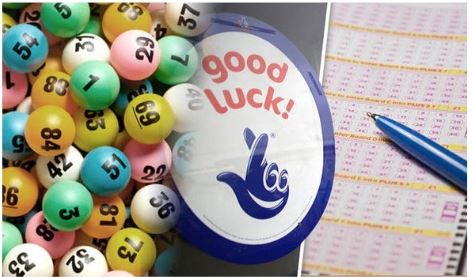 National lottery logo between a paper lottery ticket and a collection of lottery balls