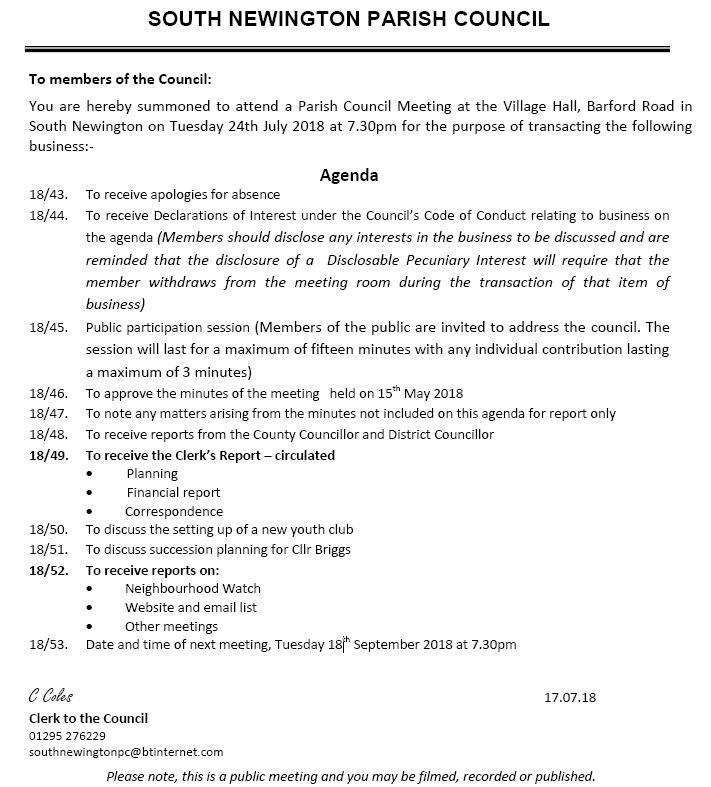 Agenda for Parish council meeting - July 2018