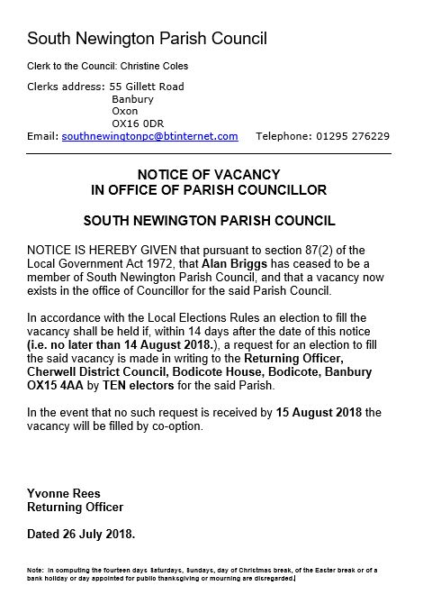 Notice of parish councillor vacancy - August 2018