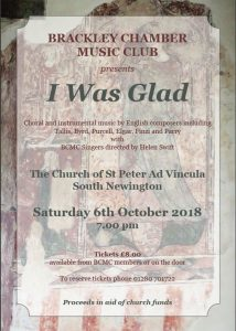 Poster for Brackley Chamber Music club - October 2018