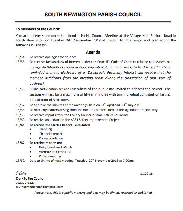 Minutes for Parish Council meeting, September 2018