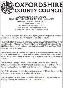 Order for road works - October 2018