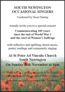 Poster for South Newington Occasional Singers event in November 2018