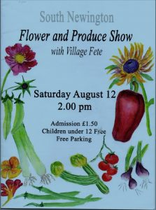 Poster detailing Flower and Produce show in August 2019.
