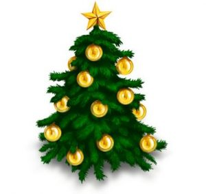 A cartoon image of a green christmas tree with gold baubles.