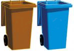 Blue and Brown bins